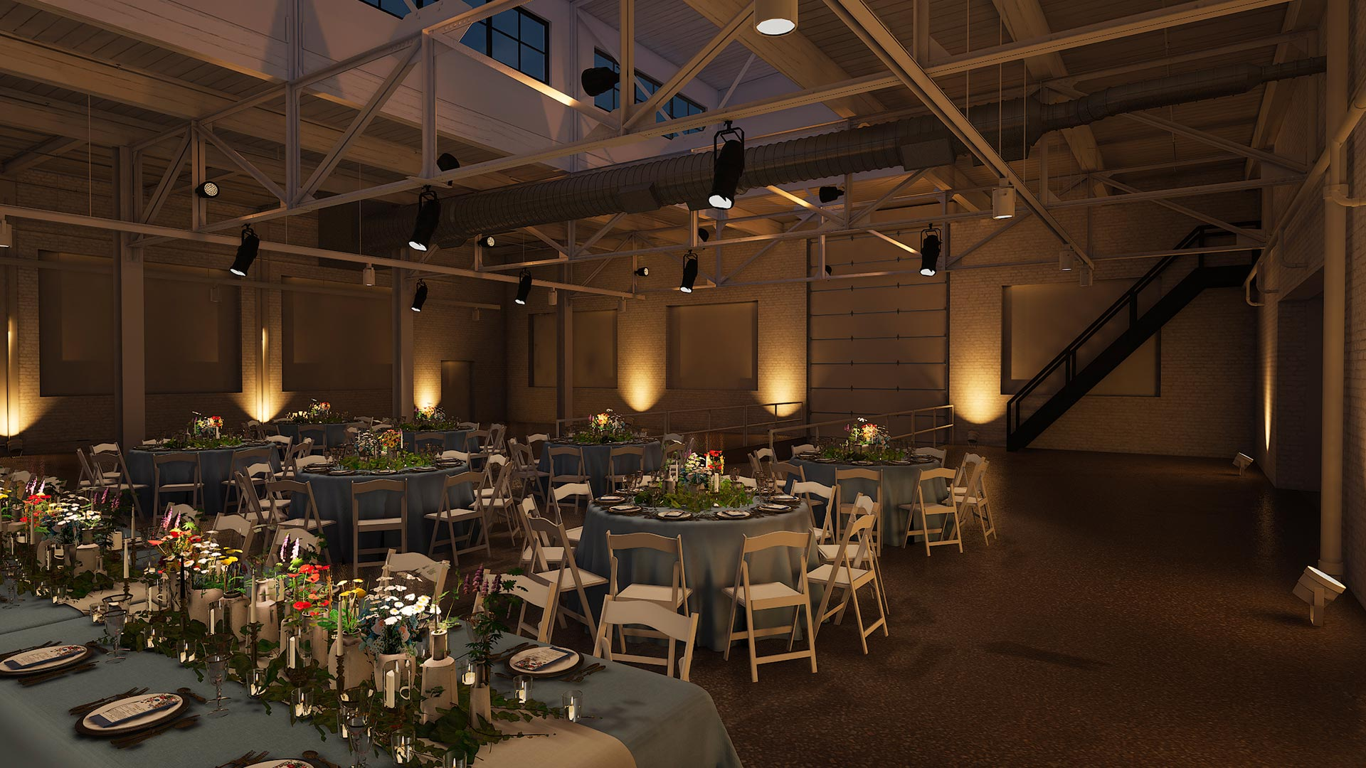 view of the loading doors evening The Madison - Cleveland's Event Reception Venue for Parties